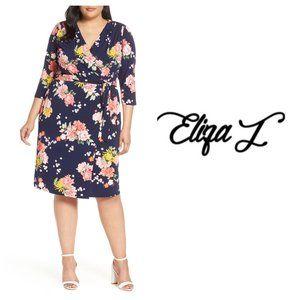 Eliza J Blue Floral Faux Wrap Dress Plus Sz 20W